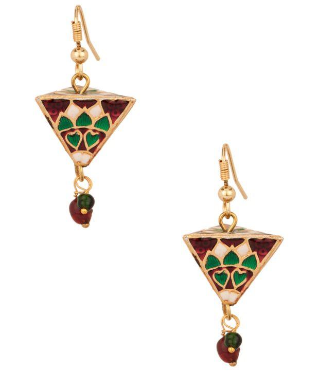 Voylla Pyramidal Bead Earrings With Attractive Meenakari Work