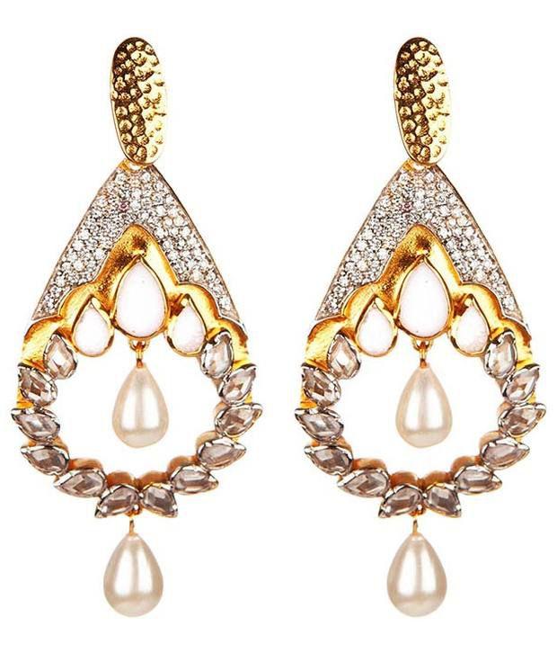 Voylla Stunning Tear Drop Earring With Semi Precious Stones