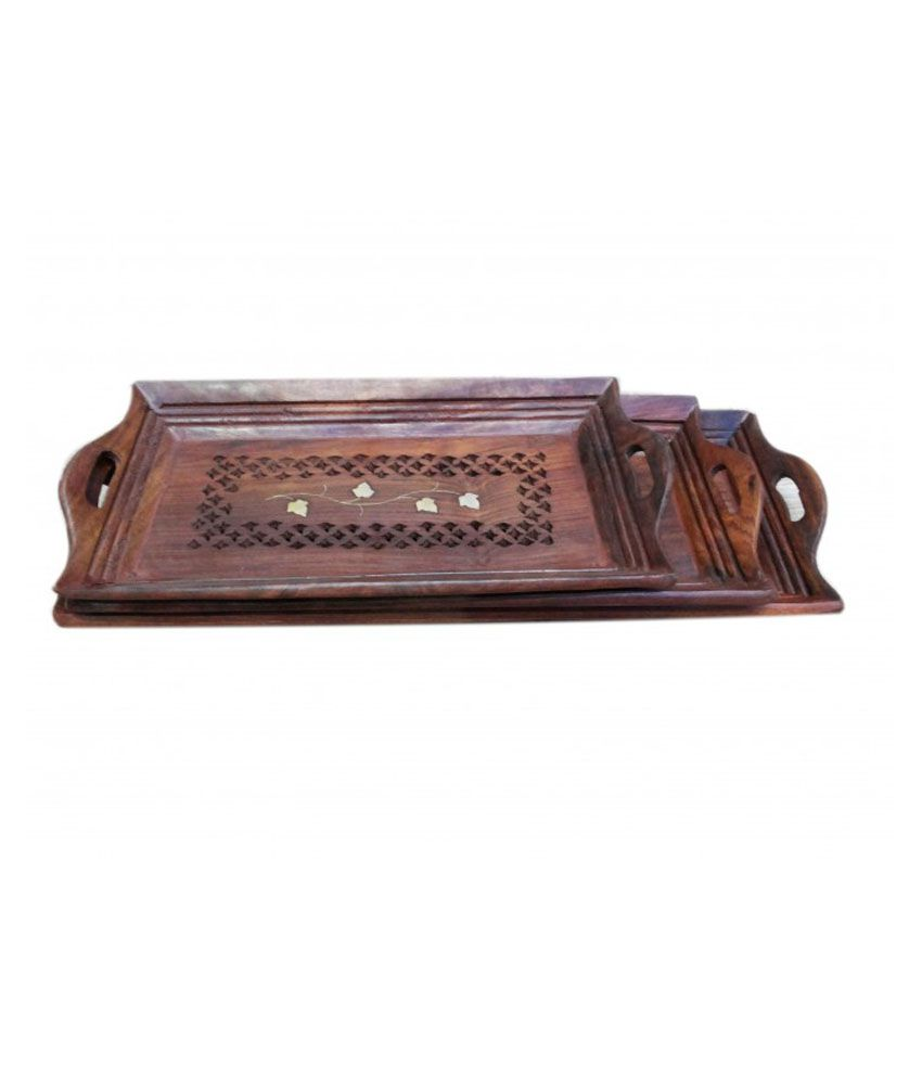 Onlineshoppee Hand Carved Wooden Serving Tray Set   3 Pcs ...