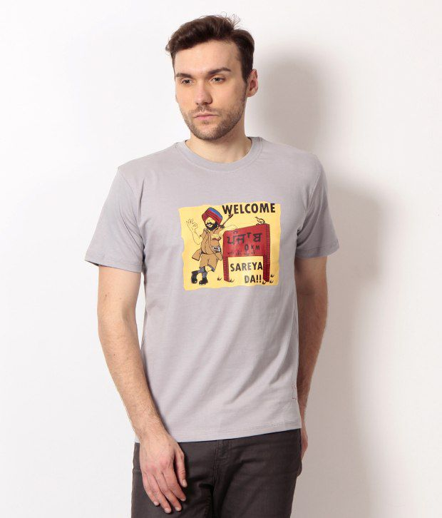 PUNJABI HERITAGE Gray Welcome To Punjab Printed Cotton Men's T-Shirt