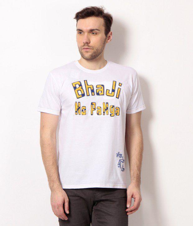 PUNJABI HERITAGE White Bhaji No Panga Printed Cotton Men's T-Shirt