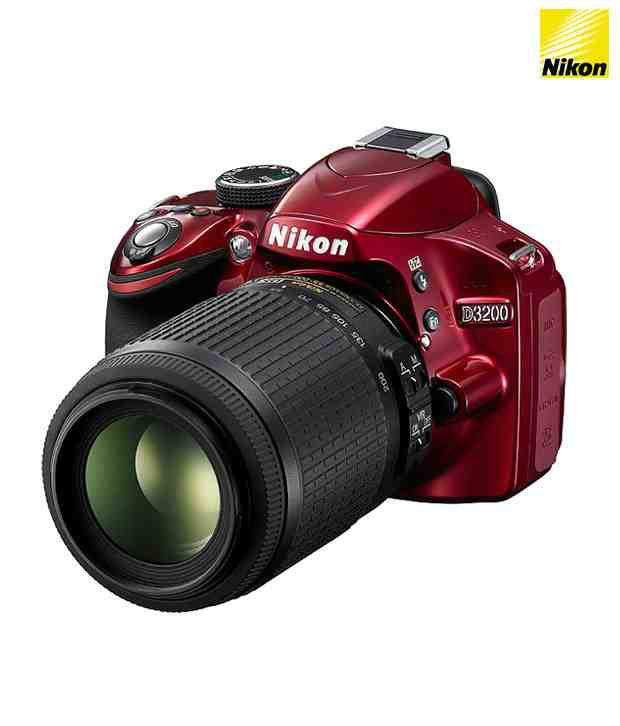 Nikon DSLR D3200 (Red) DSLR with AF-S 18-55mm VR Kit Lens(with4 GB SD Card+DSLR Bag)