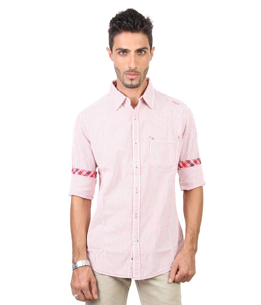 urbantouch Stripers Full Sleeve Red Shirt
