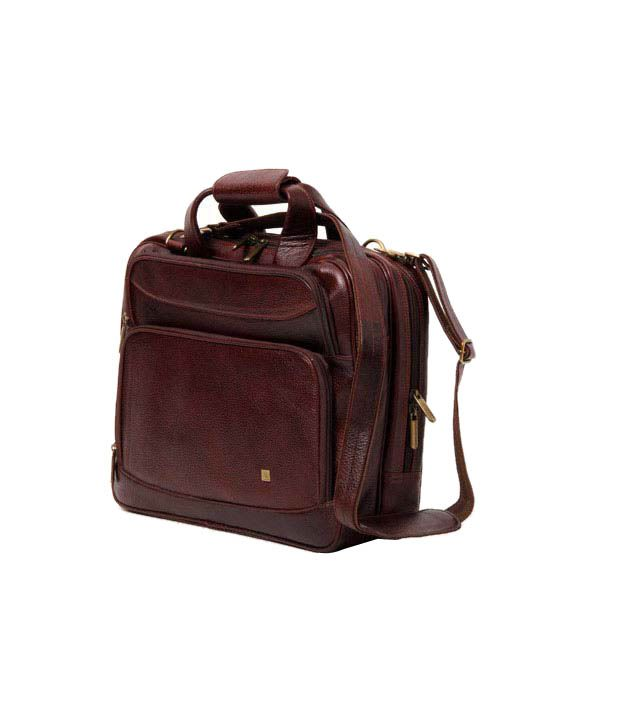 WalletsnBags Brown Leather Laptop Bag