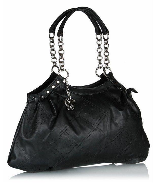 Butterflies Black Faux Leather Shoulder Bag - Buy Butterflies ...