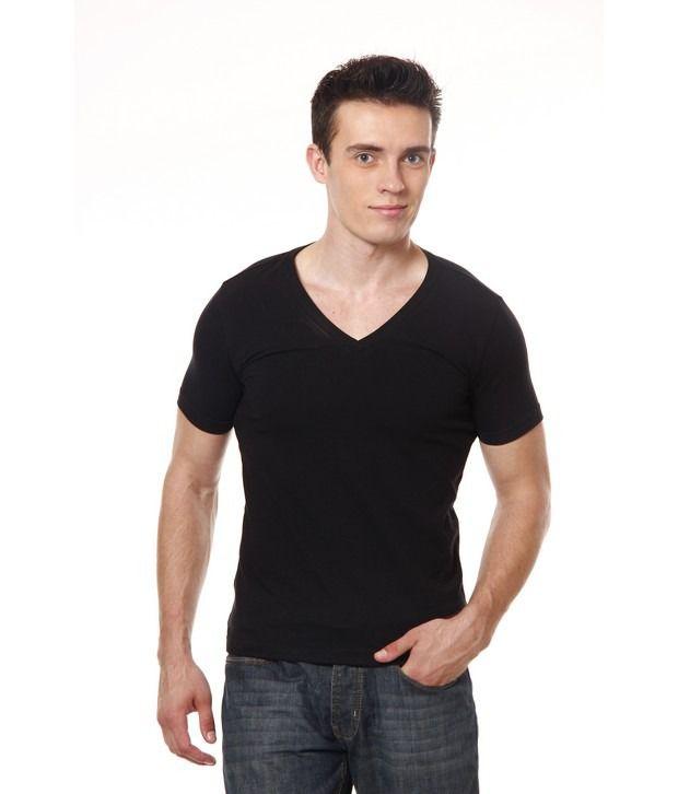 Casual Tees Black V-Neck T-Shirt