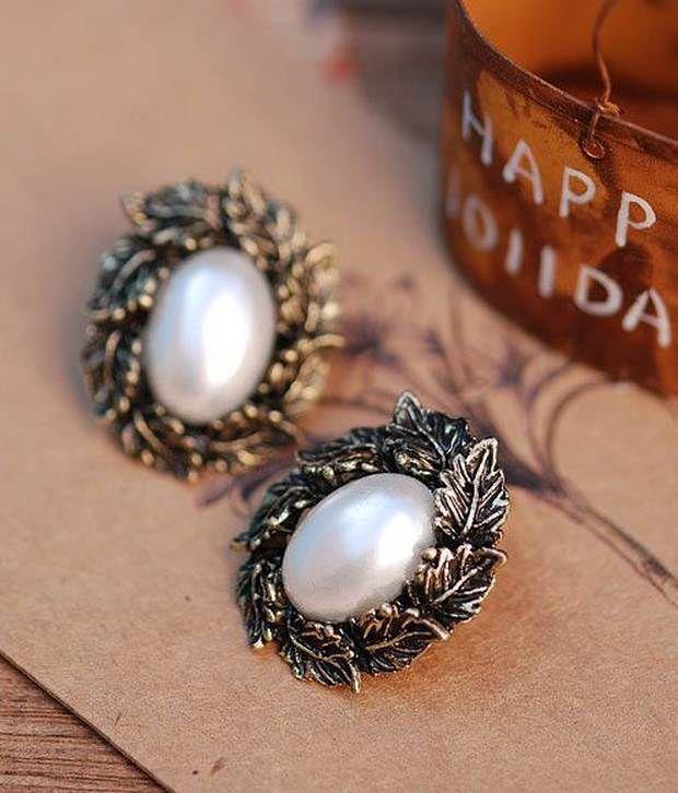 Cinderella Fashion Jewelry  Victorian Look Pearl Studs