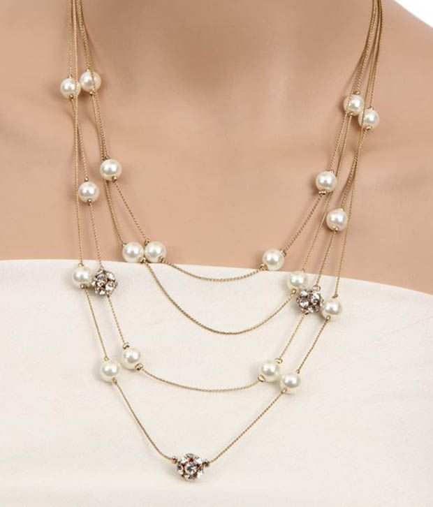 String Pearl Necklace: Diva Multi String Pearl Classy Necklace