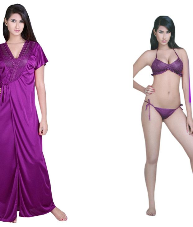 Flavia X Violet Poly-Satin Bra & Panty Set With Robe