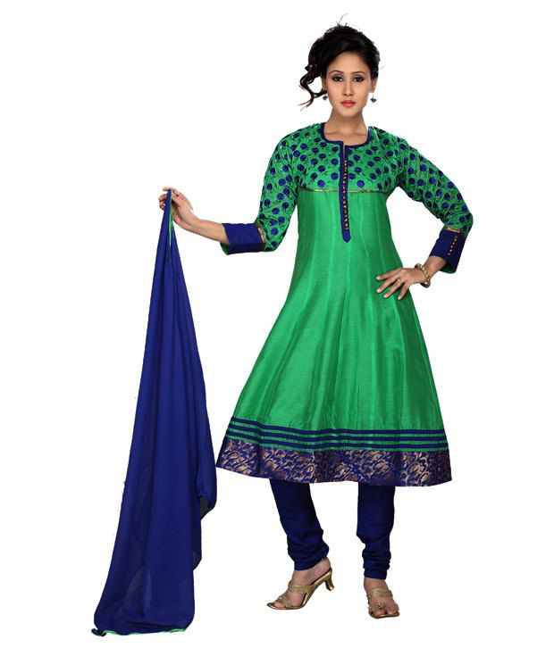 Idha Readymade Green & Blue Cotton Silk Anarkali Suit