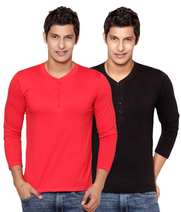 Phoenix Red-Black Pack Of 2 Henley T Shirts