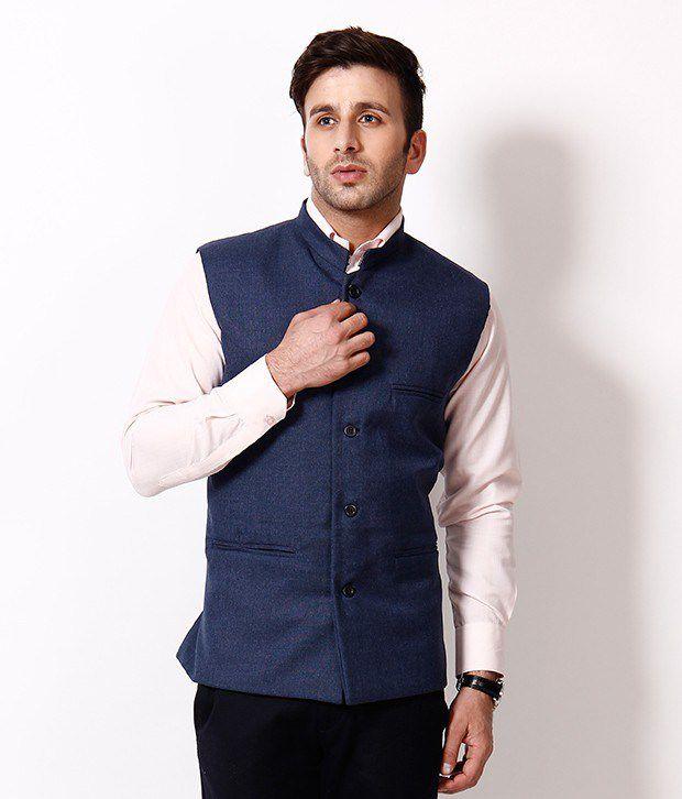 RPB Combo of Black Shirt and Blue Sleeveless Nehru Jacket - Buy ...