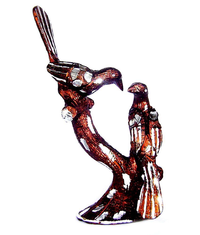 Rastogi Handicrafts Aluminium Tree Birds- Brown