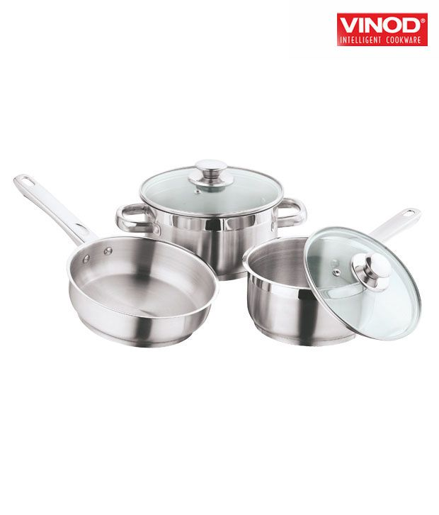 Vinod Induction Friendly Cookware Set 3 Piece Cookware Set
