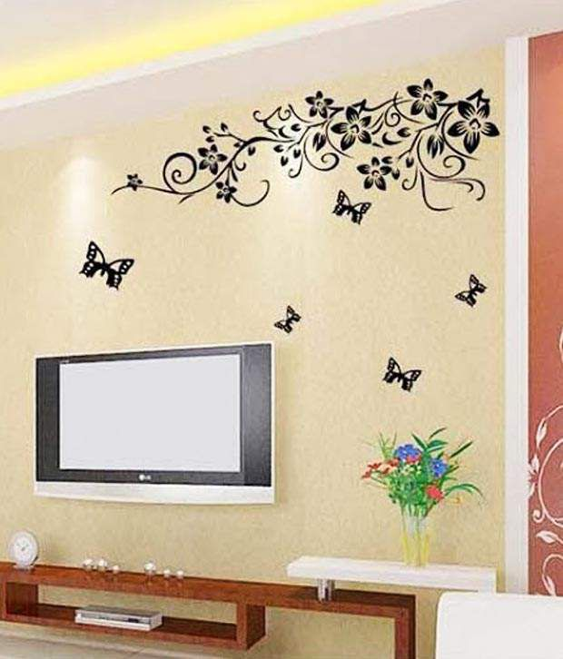 Wow Interiors And Decors Tv Background Floral Wall Sticker