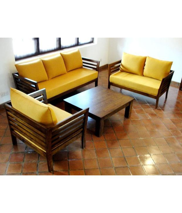 Furny Wooden Sofa Set 3 Plus 2 Plus 1 With Coffee Table