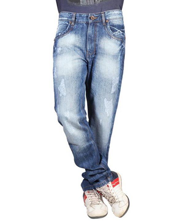 Mushky Slim Fit Shaded Blue Jeans for Men