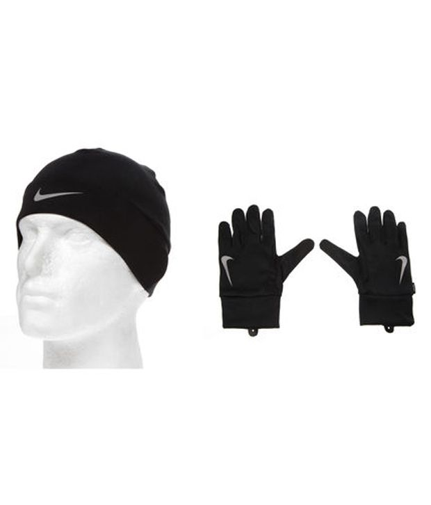 85aadec03 Nike Dri-Fit Men'S Running Beanie/Glove Set Black/Silver L