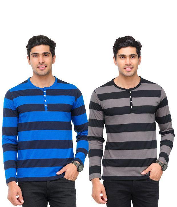 3e71dcd239 TSX Royal Blue-Dark Gray Combo of 2 Henley Striped T Shirts - Buy TSX Royal  Blue-Dark Gray Combo of 2 Henley Striped T Shirts Online at Low Price ...
