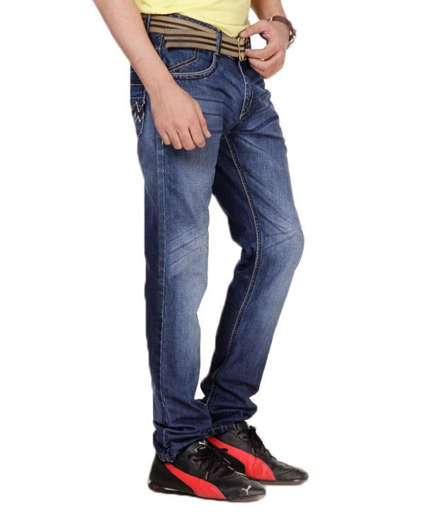 Uomos Casual Indigo Faded Slim Fit Stretchable Jeans
