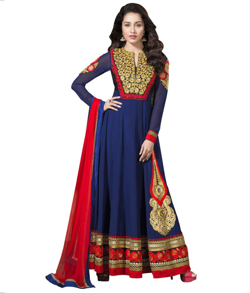 Indian Wholesale Clothing Blue Georgette Unstitched Dress Material - Buy Indian Wholesale ...