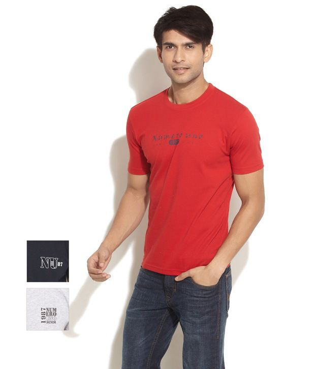 Numero Uno Red-Grey-Black Pack Of 3 T-Shirts