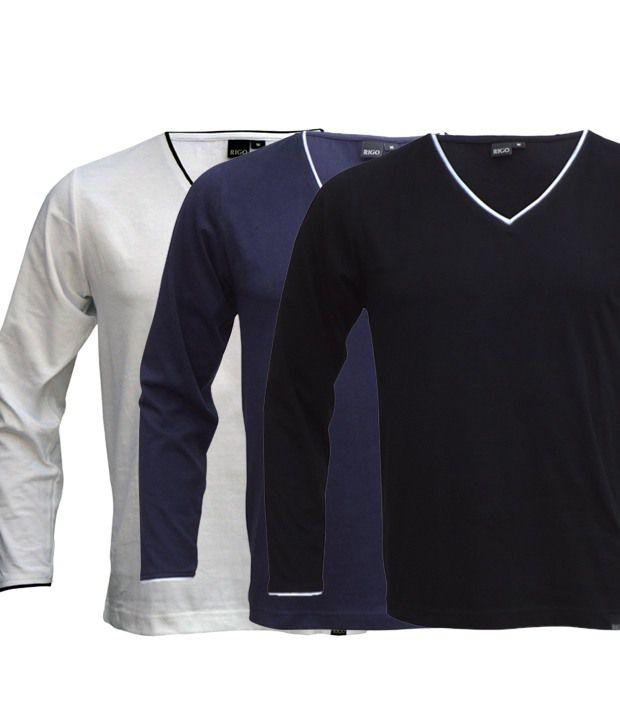 Rigo Smart Pack Of 3 White-Navy-Black V Neck T Shirts