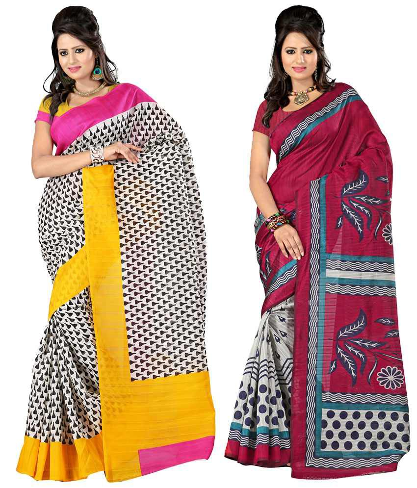 Sanju Sarees Lovely White And Dark Pink Colour Bhagalpuri Silk Sarees Pack Of 2