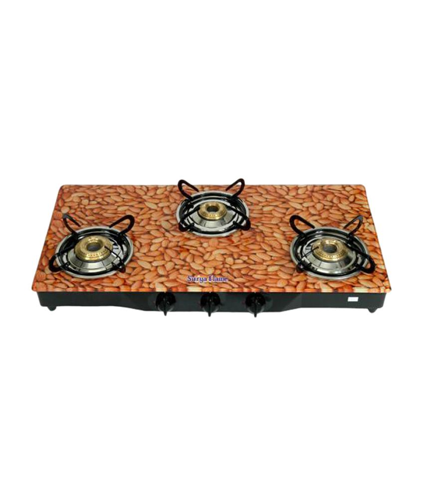 Surya Flame Almond SFAL-GL-1233B Gas Cooktop (3 Burner)