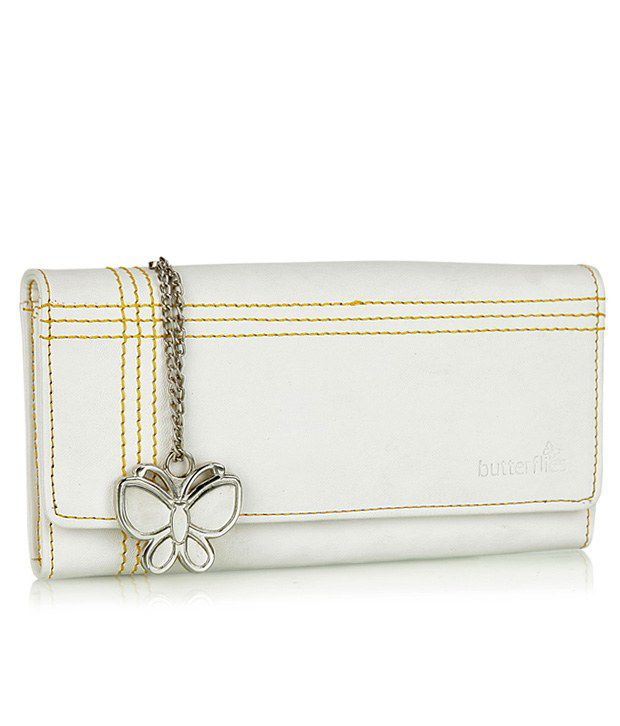 Butterflies White Contrast Stitched Wallet