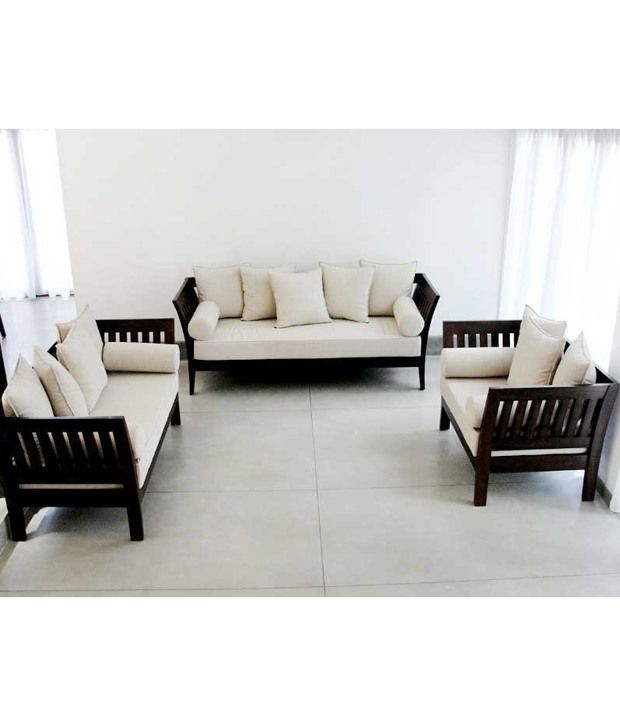 furny wooden sofa set extra spacious 3 plus 2 plus 1 creame fabric rh snapdeal com