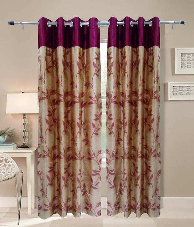 Homefab India Set of 2 Window Eyelet Curtains Floral