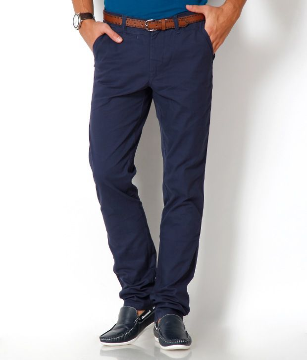 Urban Navy Trendy Blue Chinos With Free Belt