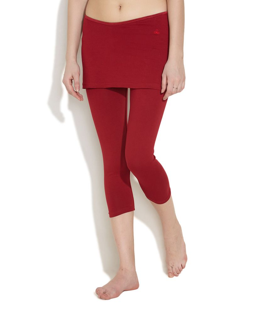 Buy Urban Yoga Red Overskirt Cropped Yoga Pants Online At