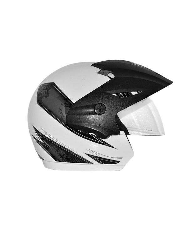 675dd0b4 ... Vega Helmet - Cruiser With Peak Arrows (White Base With Silver Graphics)  ...