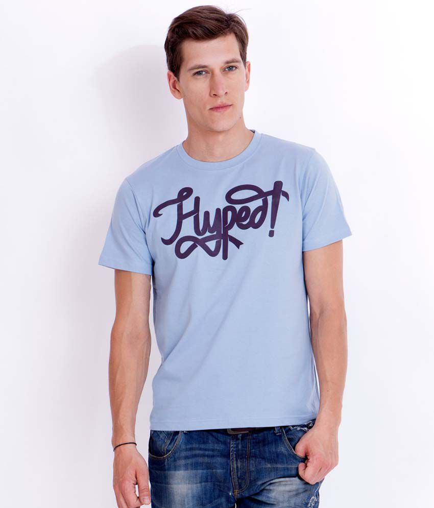Elaborado Hyped High Density Bluish Grey Printed T-Shirt