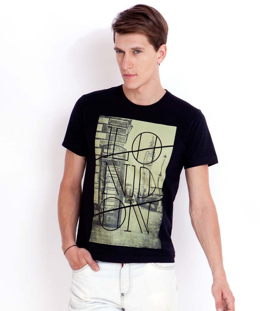 Elaborado London Black Printed T-Shirt