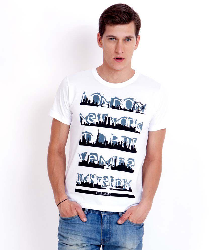 Elaborado Skylines White Printed T-Shirt