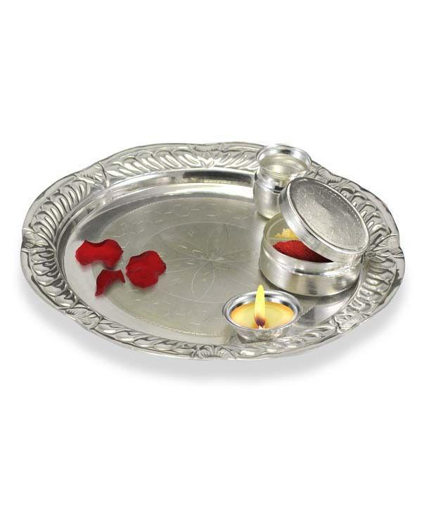 Ilina Exclusive Silver Plated Puja Thali