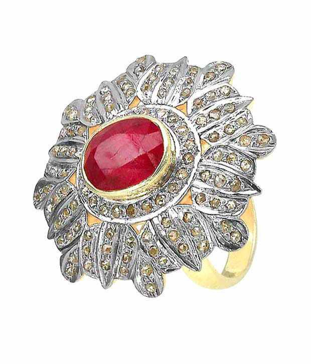 Indian Touch Modish Genuine Ruby & Diamond Silver Ring with Free Rakhi