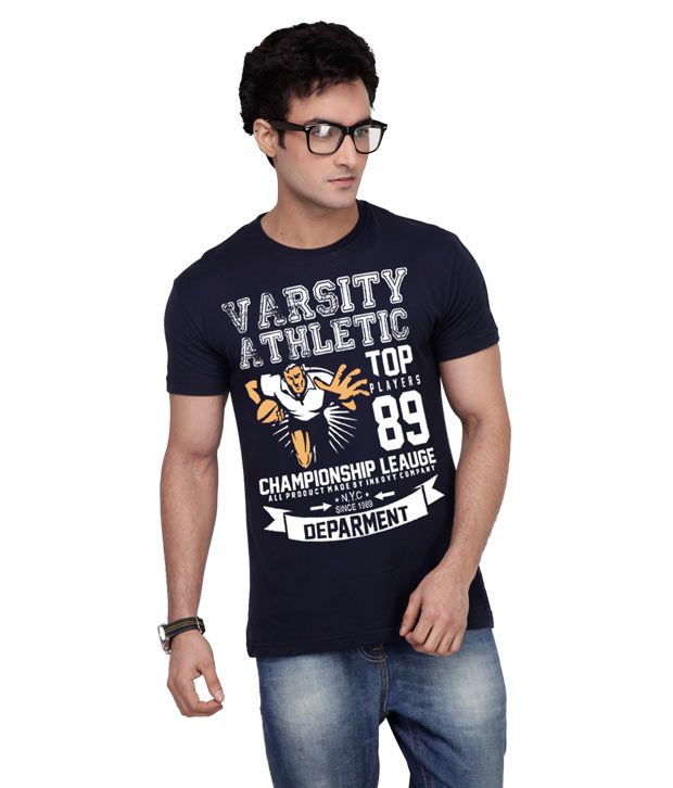 Inkovy Stylish Round Neck Varsity Navy T-Shirt
