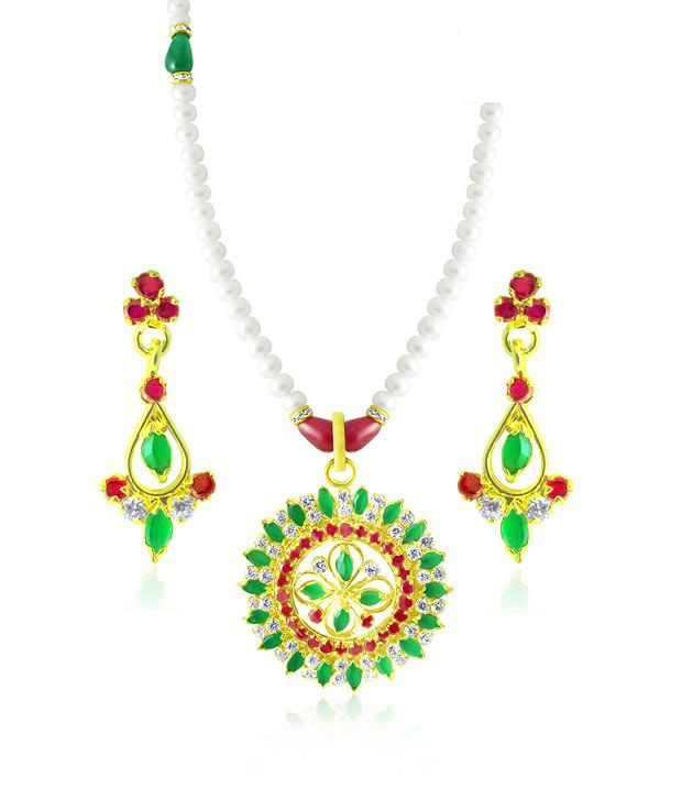 Sri Jagdamba Pearls CZ & Pearl Studded Stunning Necklace Set