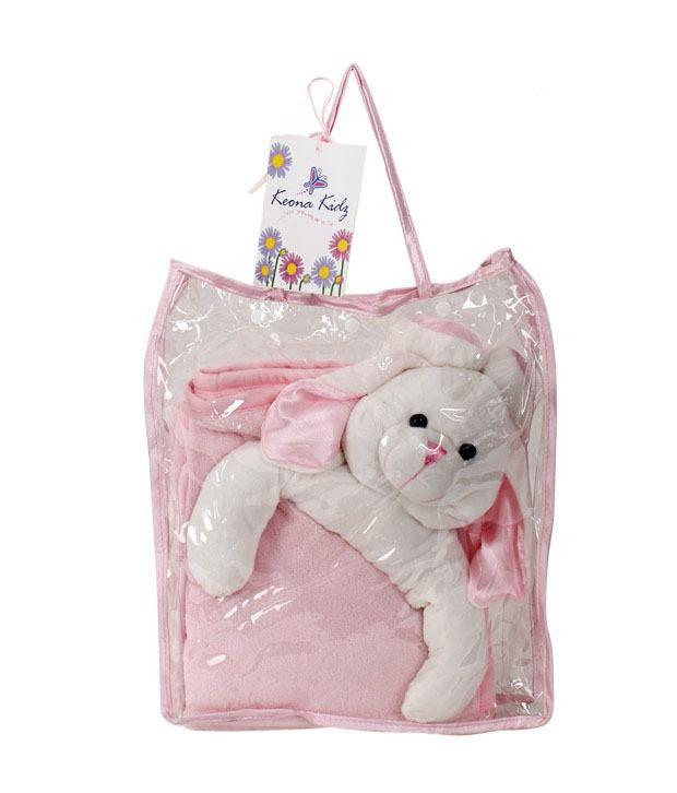 Keona Kidz Pink Baby Blanket With Puppy Motif