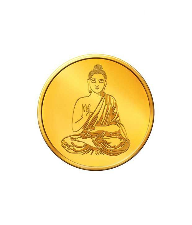MNC 5 Gm 24kt Hallmarked Lord Buddha Gold Coin With 999 Fineness