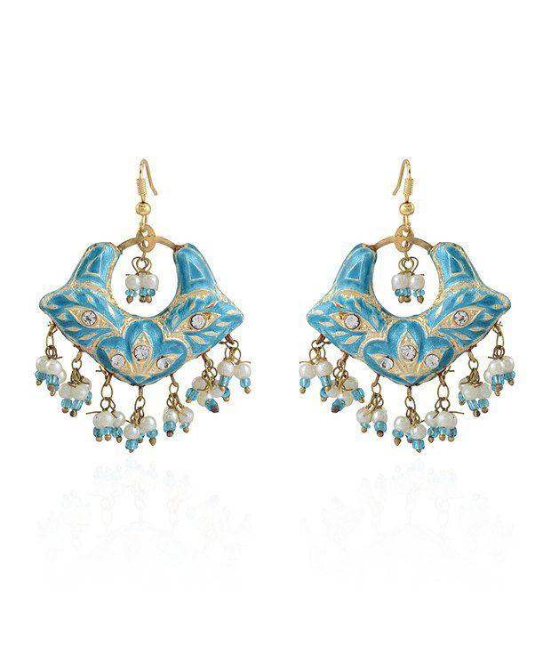 Bling Rajrang Blue Allure Festive Earrings