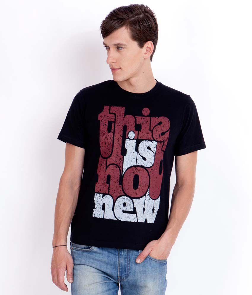 Elaborado Typography Black Printed T-Shirt