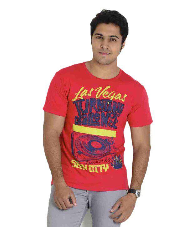 Globus Red Half Cotton Round  T-Shirt