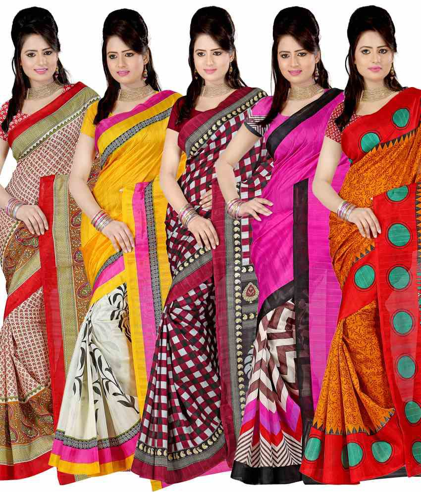 Kajal Impressive Multi-colour Sarees- Set Of 5