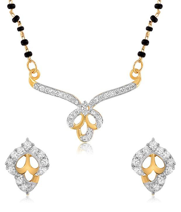 Mahi Gold Plated Amour Mangalsutra Set with CZ Stones