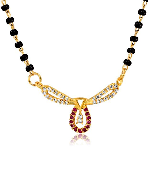 Mahi Gold Plated Bliss Mangalsutra Pendant with CZ and Ruby Stones